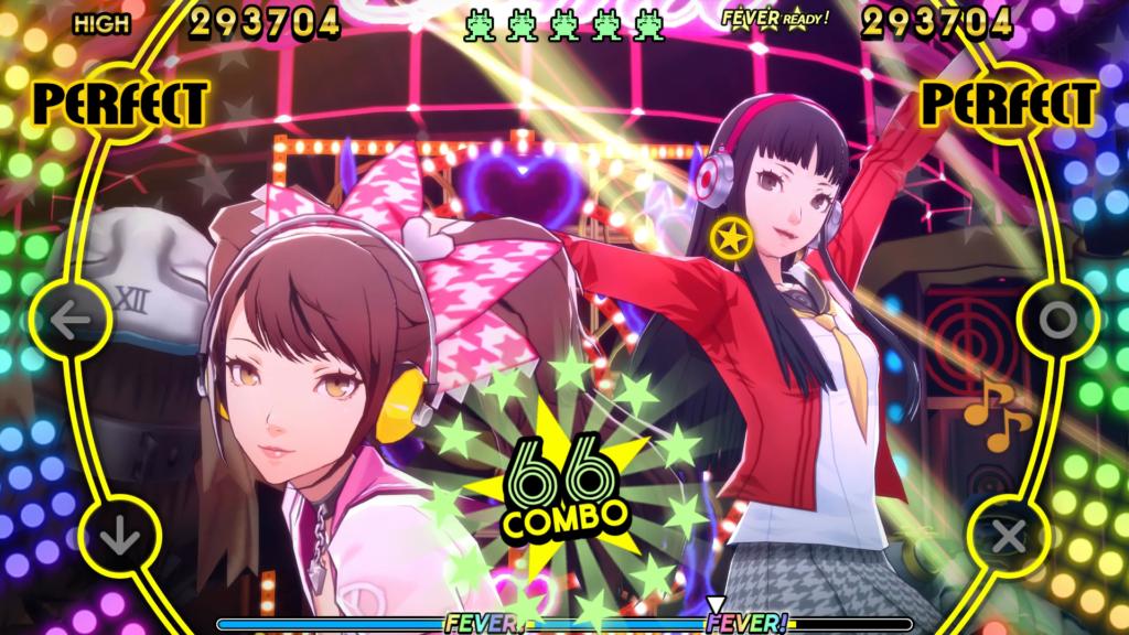 A screenshot of Yukiko Amagi and Rise Kujikawa in the PlayStation 4 version of Persona 4: Dancing All Night