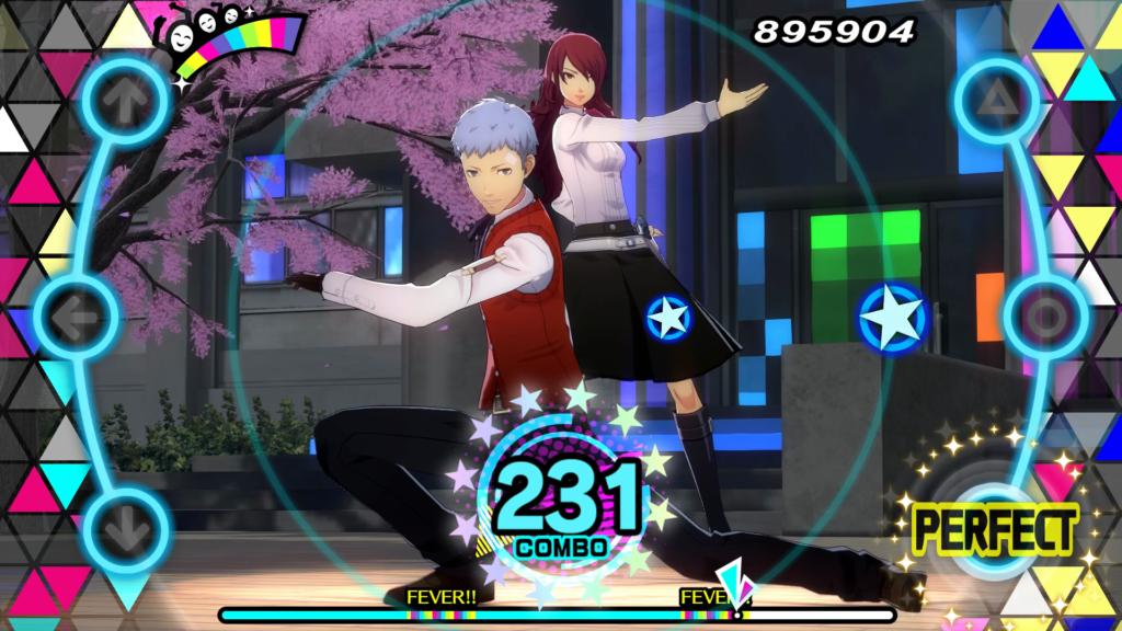 A screenshot of Akihiko Sanada and Mitsuru Kirijo in the PlayStation 4 version of Persona 3: Dancing in Moonlight