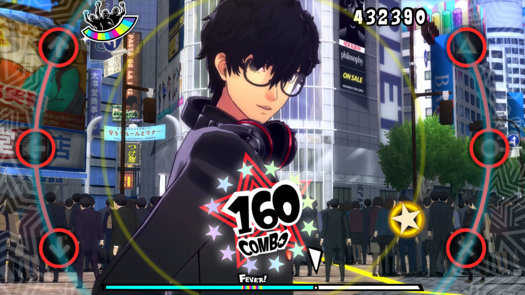 A screenshot of Ren Amamiya/Joker in the PlayStation 4 version of Persona 5: Dancing in Starlight