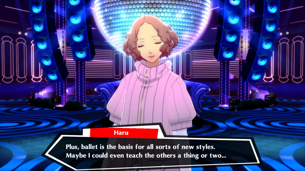 A screenshot of Haru Okumura in the PlayStation 4 version of Persona 5: Dancing in Starlight